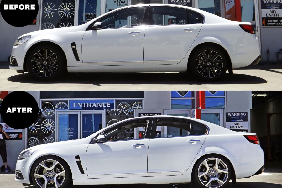 HOLDEN COMMODORE WITH 20INCH HSV WHEELS LOWERED ON KING SPRINGS