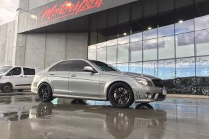 MERCEDES BENZ C63 WITH 19 INCH KOYA SF10 SATIN BLACK WHEELS |  | MERCEDES