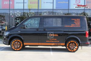 VW TRANSPORTER WITH 20 INCH ORANGE/BLACK G8 II WHEELS |  | VW