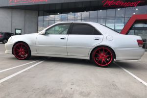 TOYOTA CROWN WITH 20 INCH GLOSS RED NICHE MISANO WHEELS |  | TOYOTA